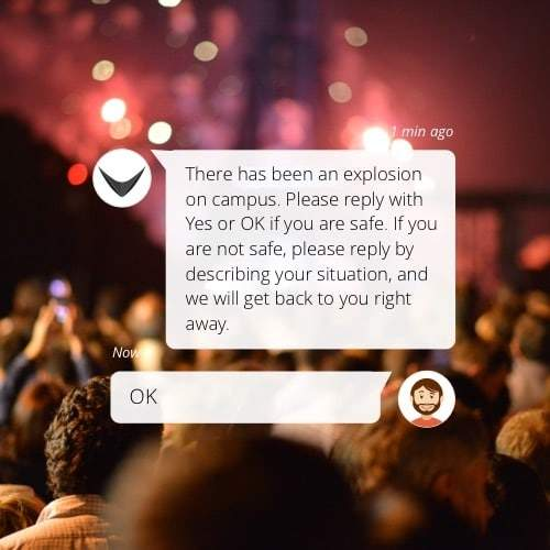 Send SMS to large groups of people to check if they are safe. Collect replies with RAYVN.