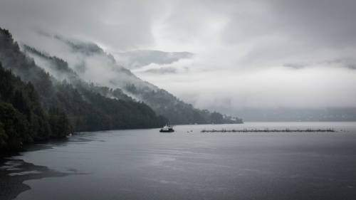 Fish farm in a cloudy environment in Norway