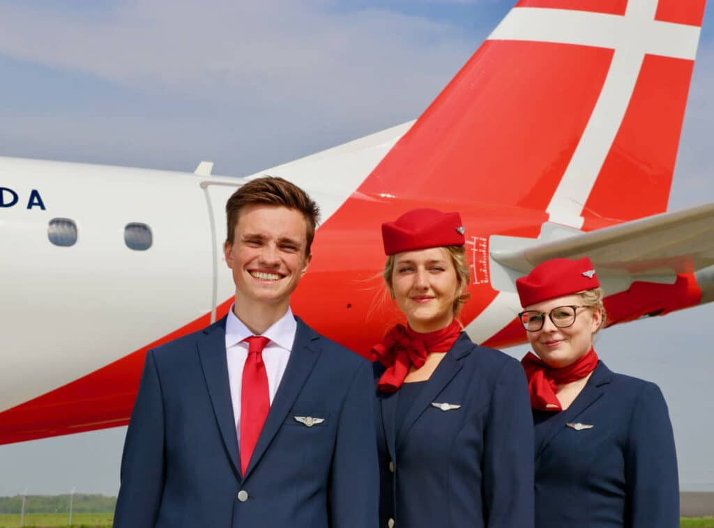 Great Dane Airlines Crew in front of plane