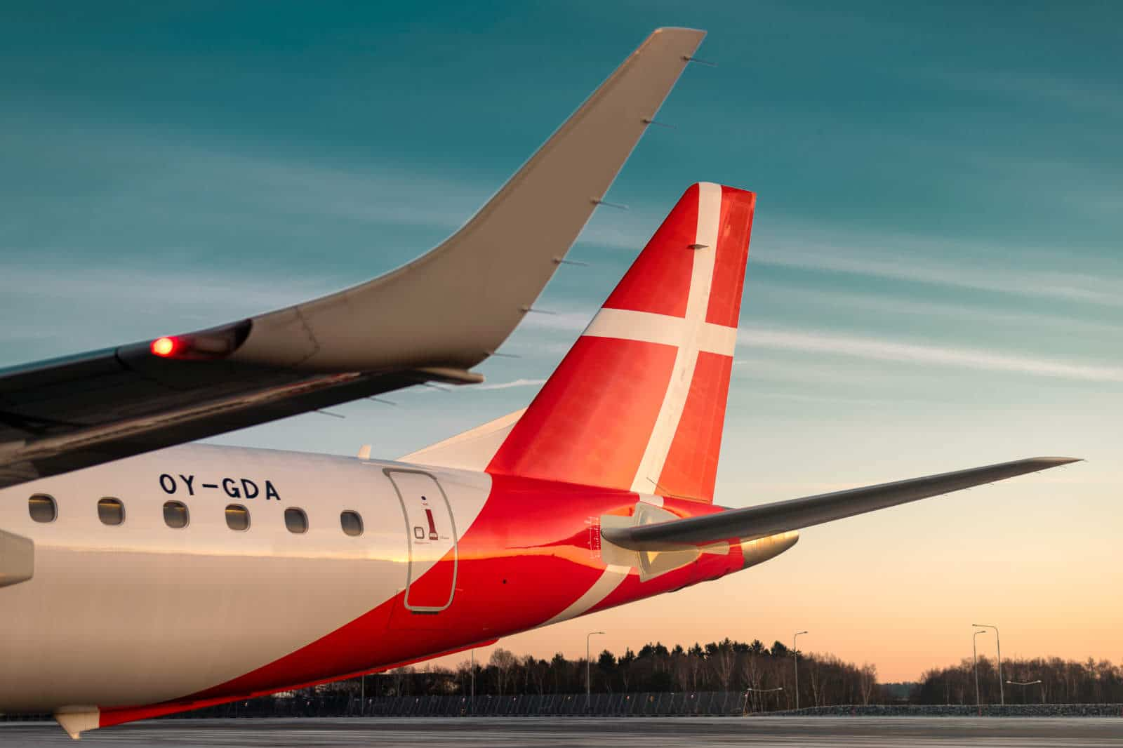 Great Dane Airlines Plane in sunset